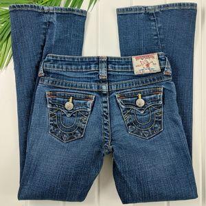 "True Religion ""Joey Girls Twisted Hem Jeans"